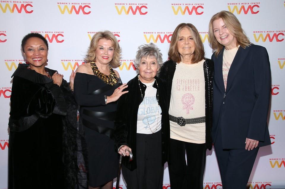 WMC Board Member Janet Dewart Bell, Pat Mitchell, Robin Morgan, Gloria Steinem, and WMC President & CEO Julie Burton