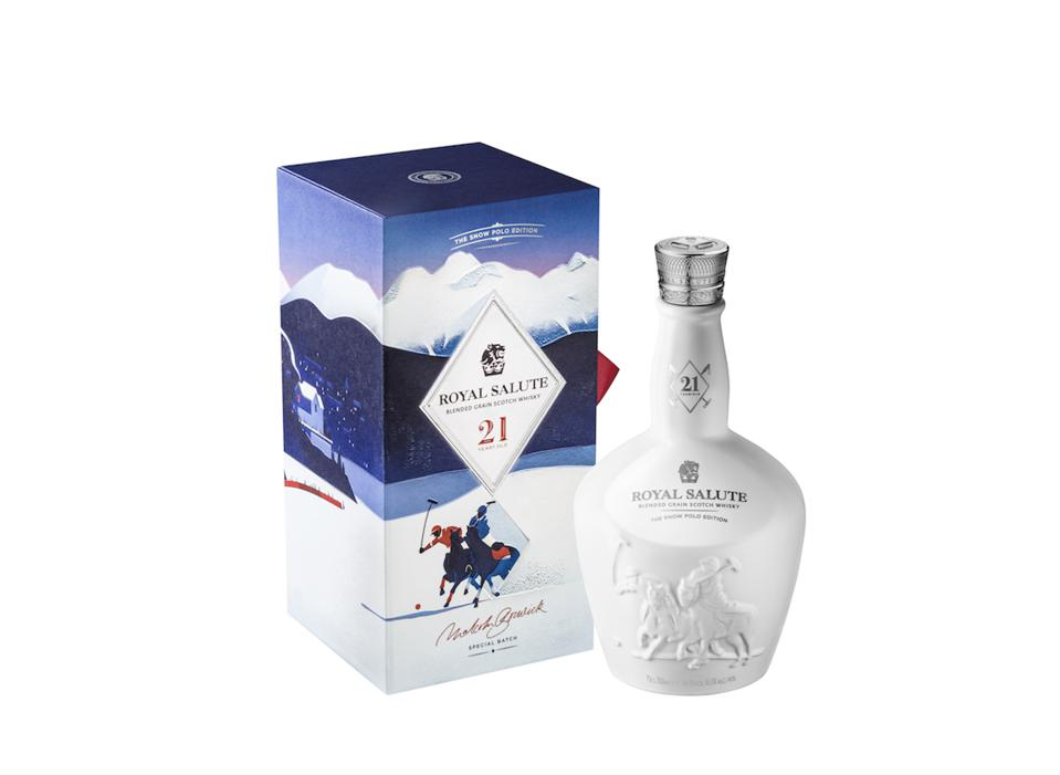 Royal Salute's first-ever blended grain whisky, the 21 Year Old Snow Polo Edition is the latest addition to the company's Limited Edition Polo series.