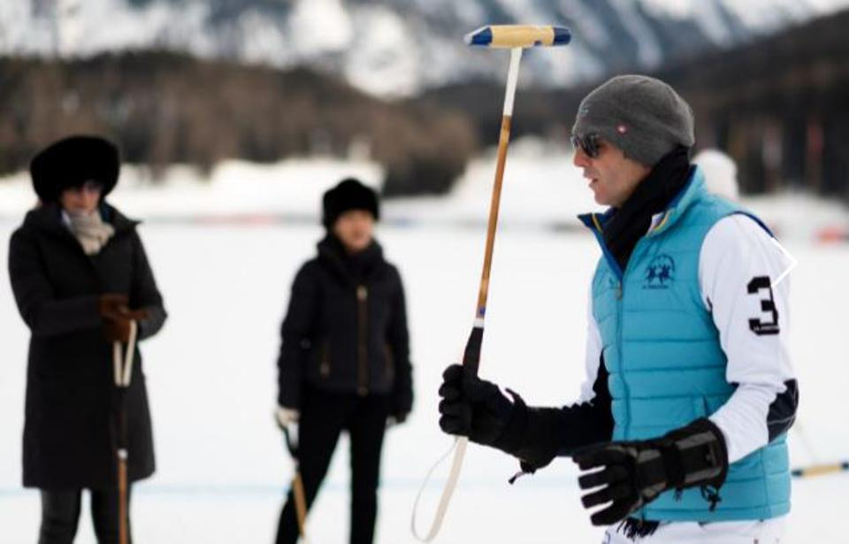 Professional polo player and World Polo Ambassador for Royal Salute, Malcolm Borwick (above) is seen leading a snow polo clinic in St. Moritz, Switzerland.