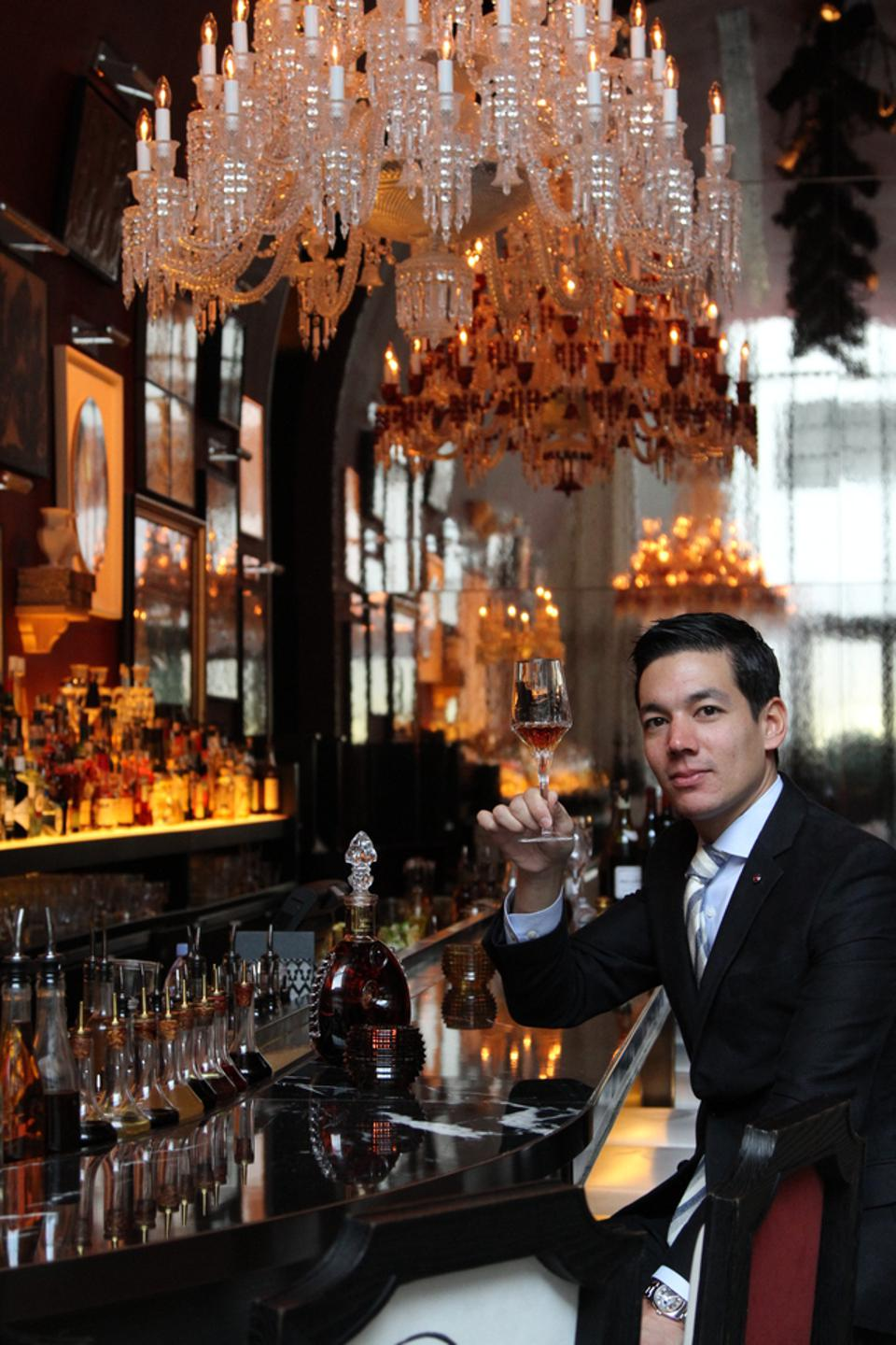 Matthieu Yamoum at the Baccarat Hotel's bar.