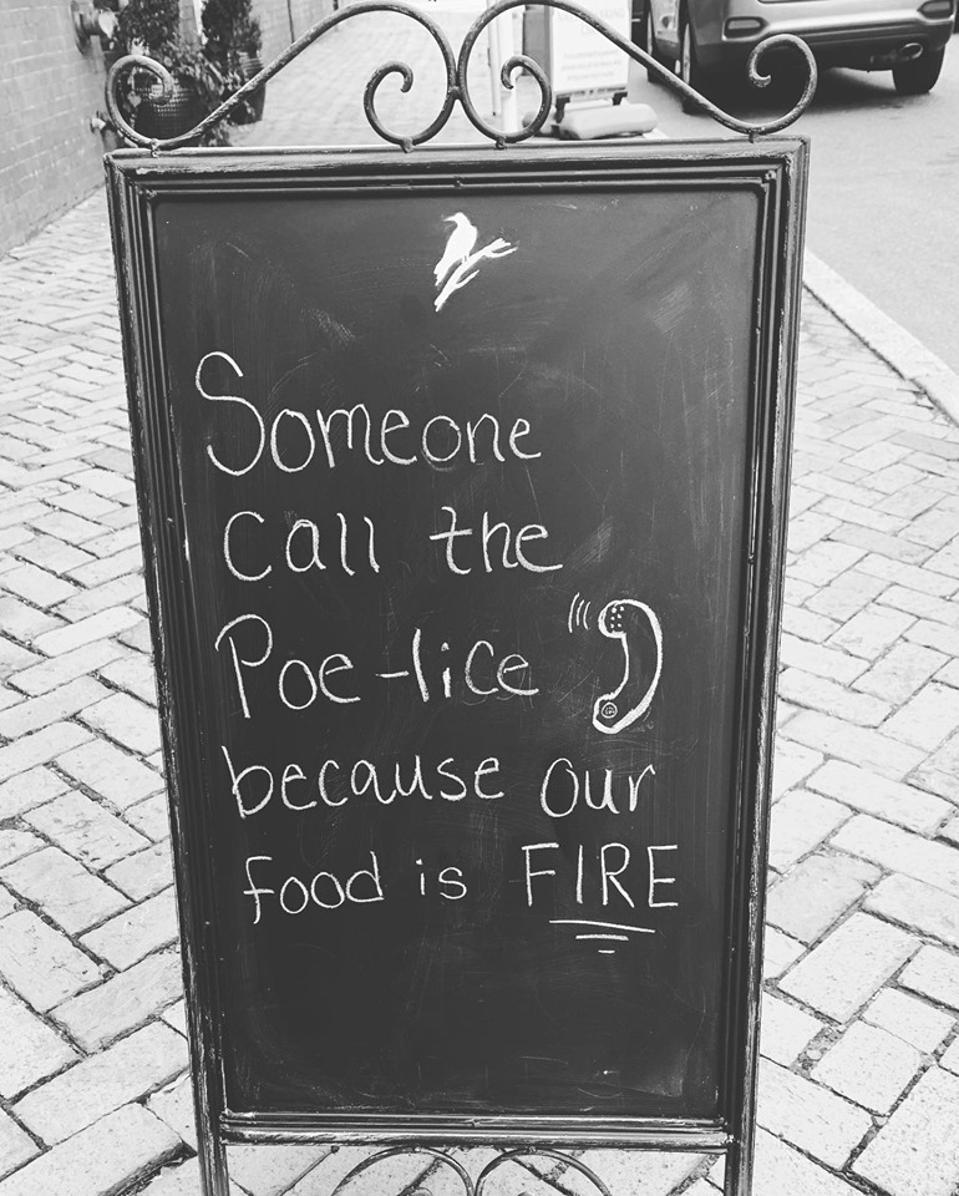 Sign outside Parterre Restaurant