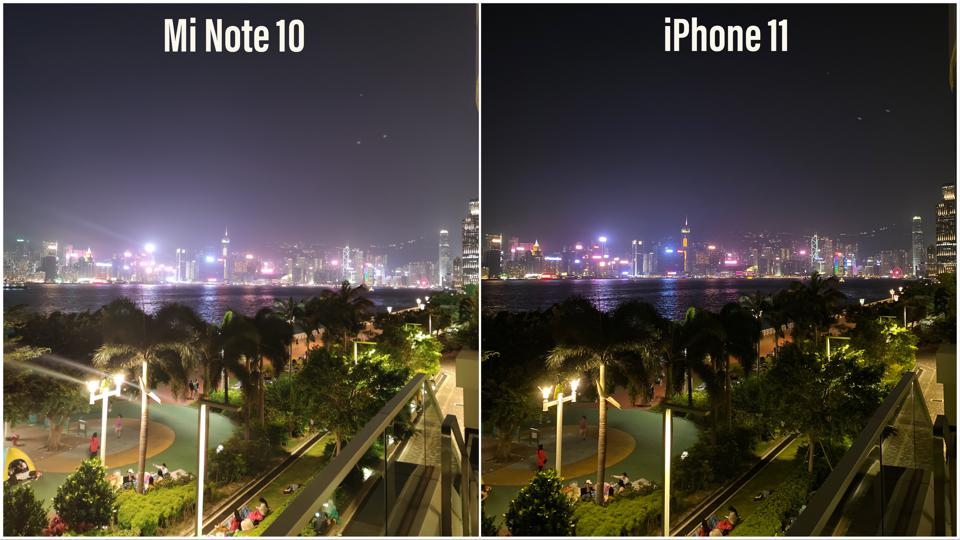 The iPhone 11 produced an image with better dynamic range.