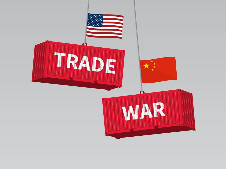 USA and China trade war concept, cargo freight containers with flag.