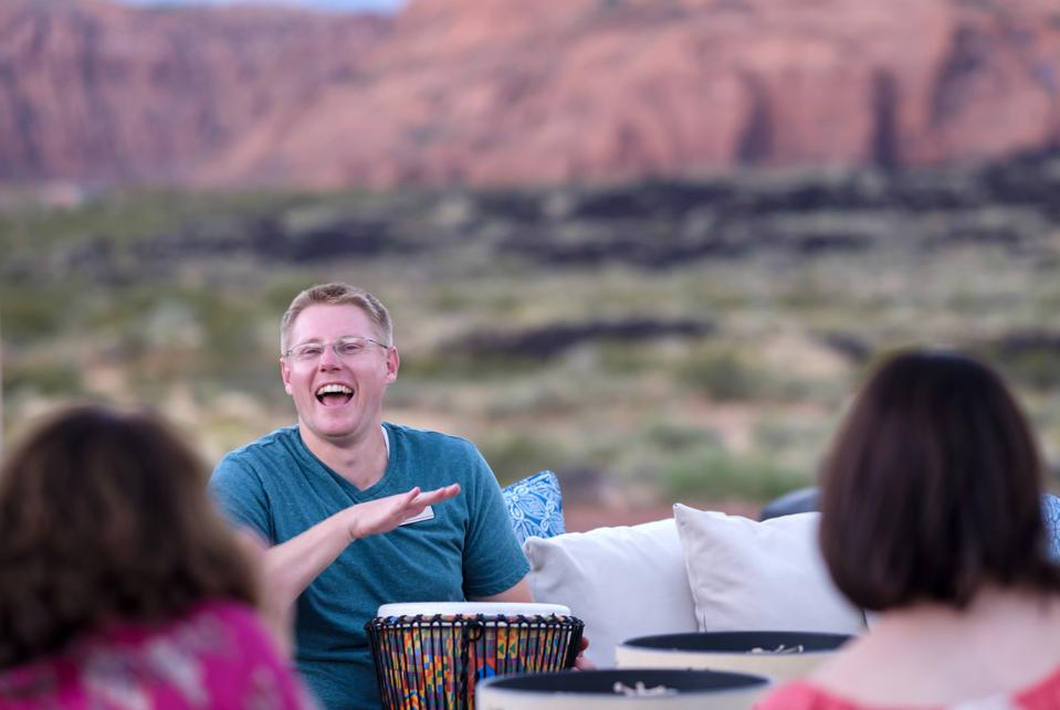 An outdoor drum circle at Red Mountain Resort, planned for thanksgiving
