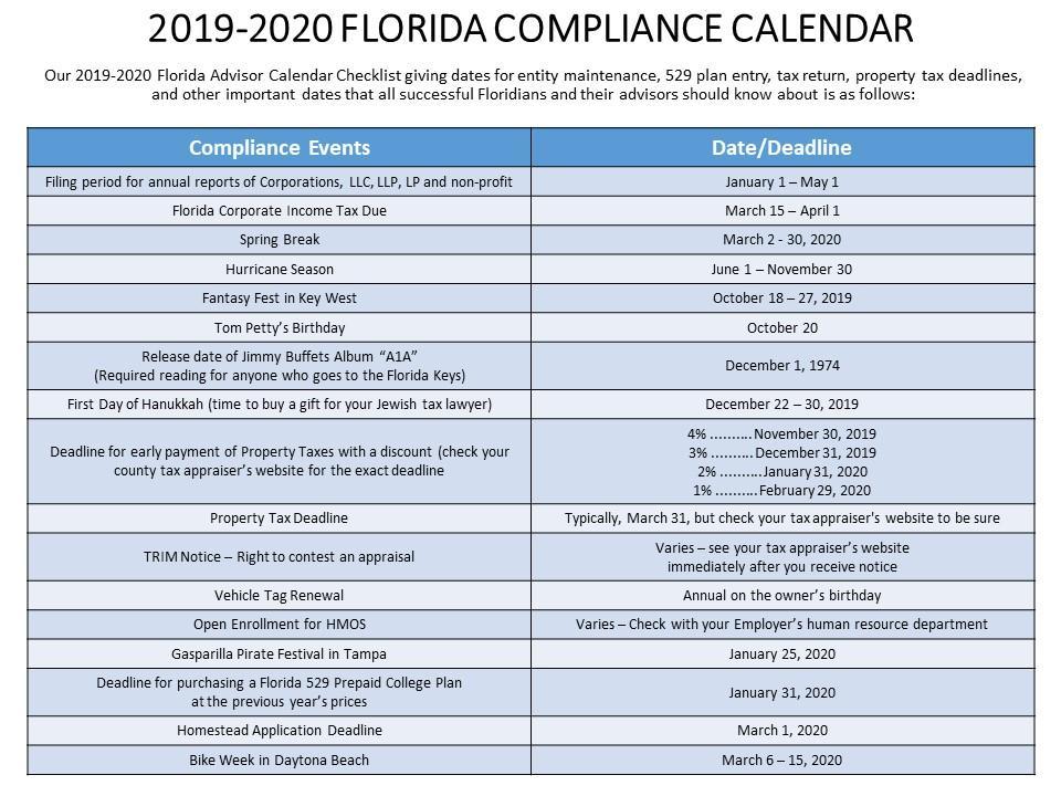 2019-2020 Florida Compliance Calendar