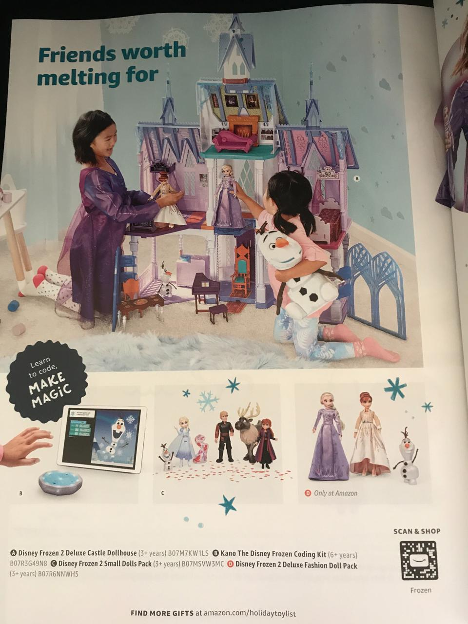 Sample page from Amazon's 2019 Toy Catalog with QR SmileCode