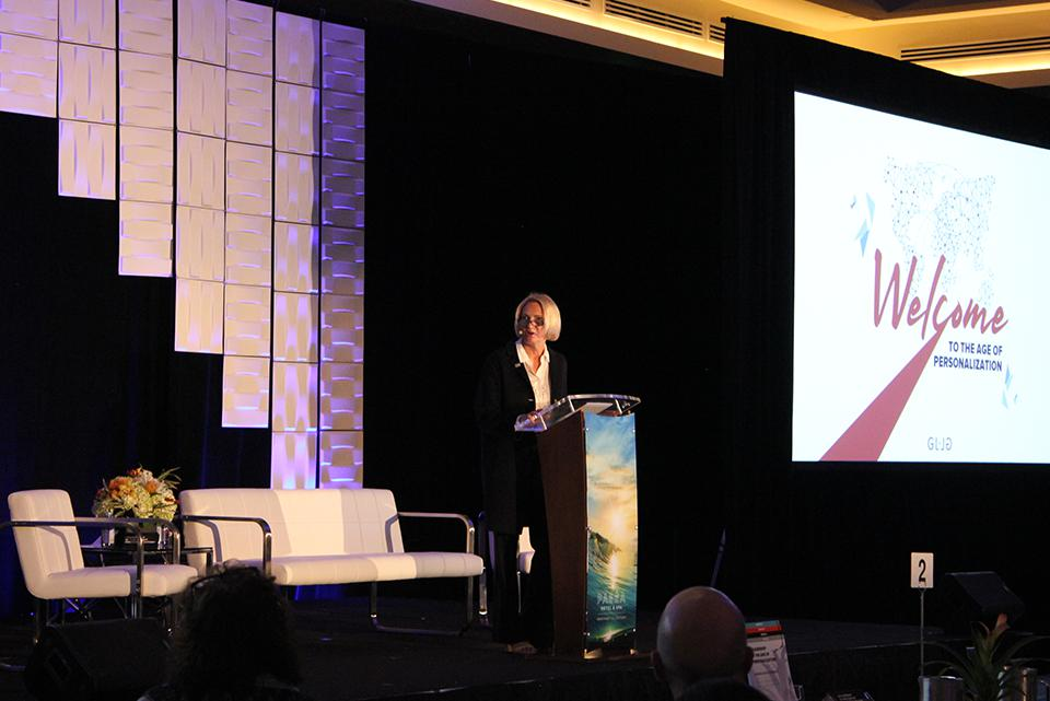 Annette Walker during her opening speech at the Leadership in The Age of Personalization Executive Summit.