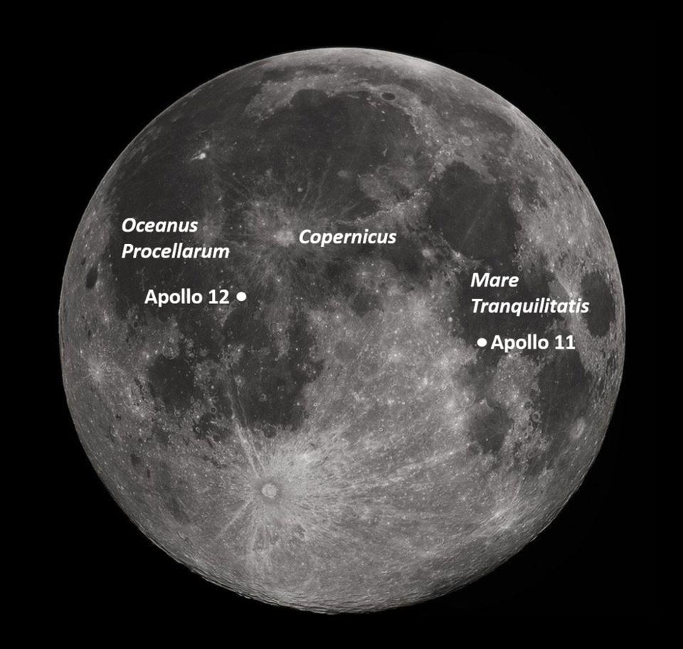 Apollo 11 and 12 landing sites.