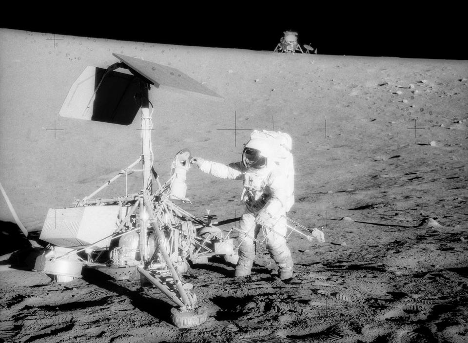 On April 17, 1967, NASA's Surveyor 3 spacecraft launched from Cape Canaveral Air Force Station, Fla., on a mission to the lunar surface. A little more than two years after it landed on the moon with the goal of paving the way for a future human mission, the Surveyor 3 spacecraft got a visit from Apollo 12 Commander Charles Conrad Jr. and astronaut Alan L. Bean, who snapped this photo on November 20, 1969.