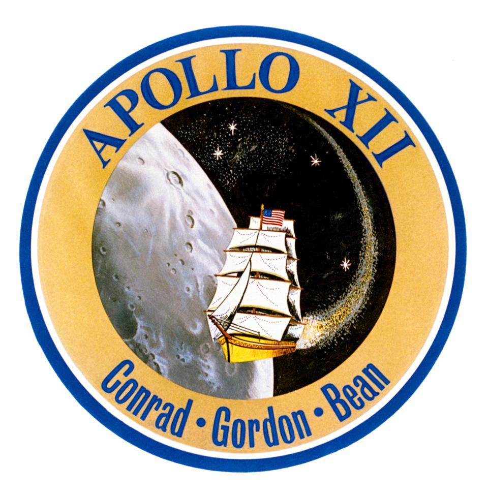 """A fourth star was included on the Apollo 12 mission patch in honor of astronaut Clifton C. """"C.C."""" Williams, killed in 1967, who would otherwise have been on Apollo 12."""