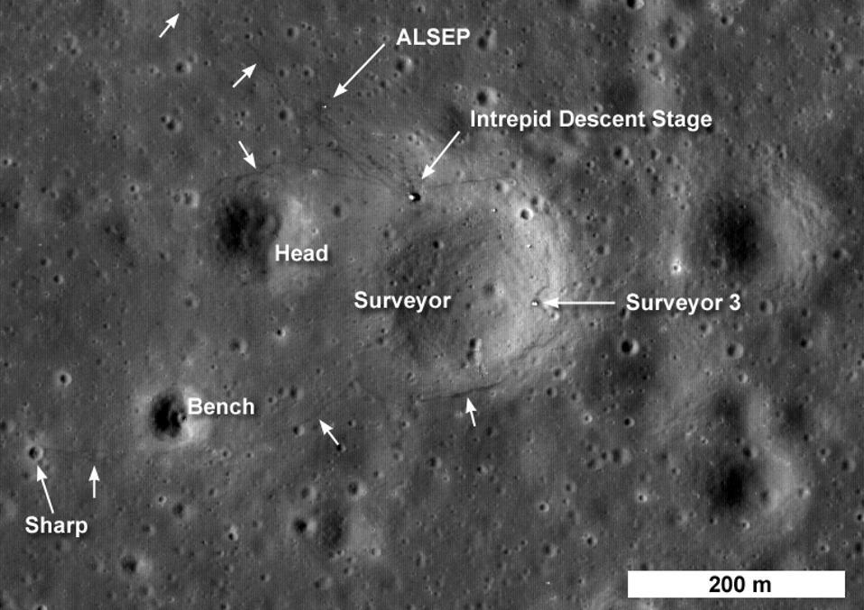 Apollo 12's landing site on the moon.