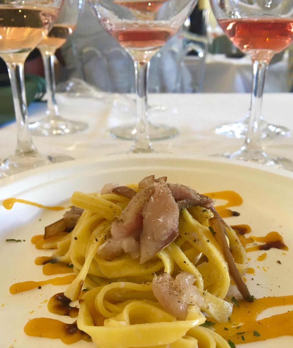 Seafood, pasta, ham, pumpkin dish by Chef Francesco Carboni