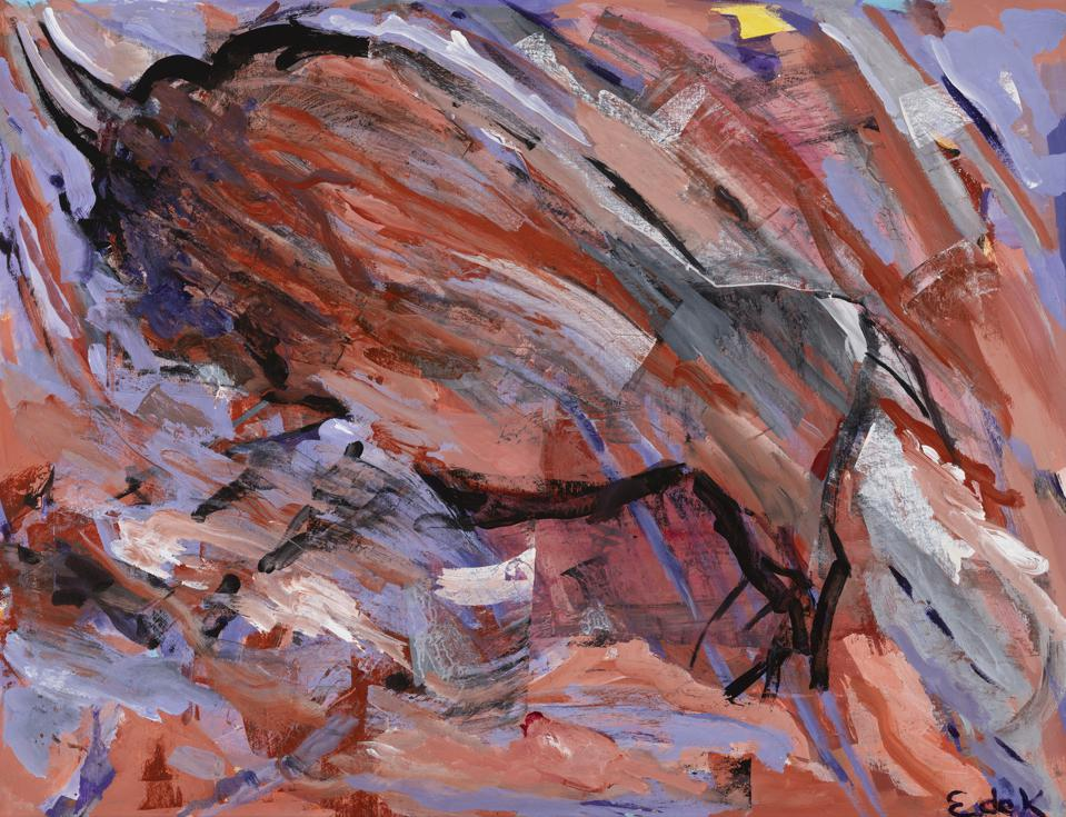 """Cave #24 Red Oxide Wall, 1954. Elaine de Kooning. Acrylic and collage on paper mounted on canvas 39""""h x 49""""w.  Richard P. Friedman and Cindy Lou Wakefield Collection."""