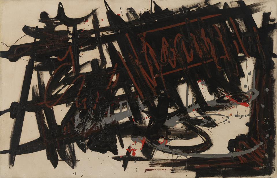 """Still Life, 1957. Michael West. Oil on canvas. 35"""" h x 49"""" w. Richard P. Friedman and Cindy Lou Wakefield Collection."""