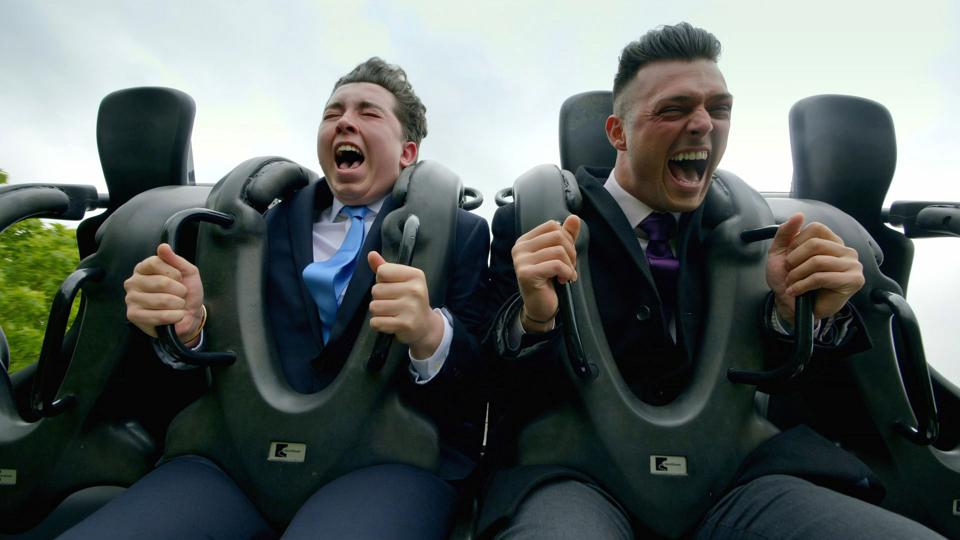 The Apprentice Episode 6 Ryan-Mark and Lewis (L-R) testing a rollercoaster on task.