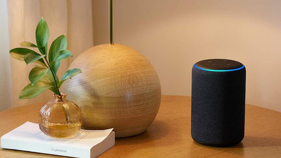 Amazon Echo on a table.