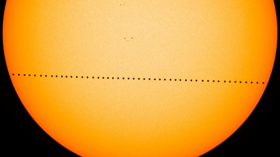 Composite image of the transit of Mercury in 2016.