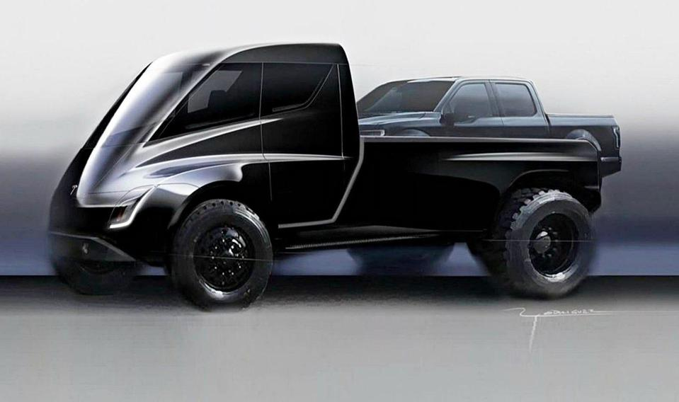 An early rendering of the Tesla truck, with a crew cab ″regular″ pickup in the bed... for scale.