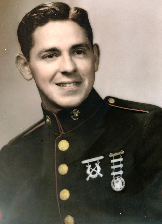 Private Nicoletto in Marine dres uniform.