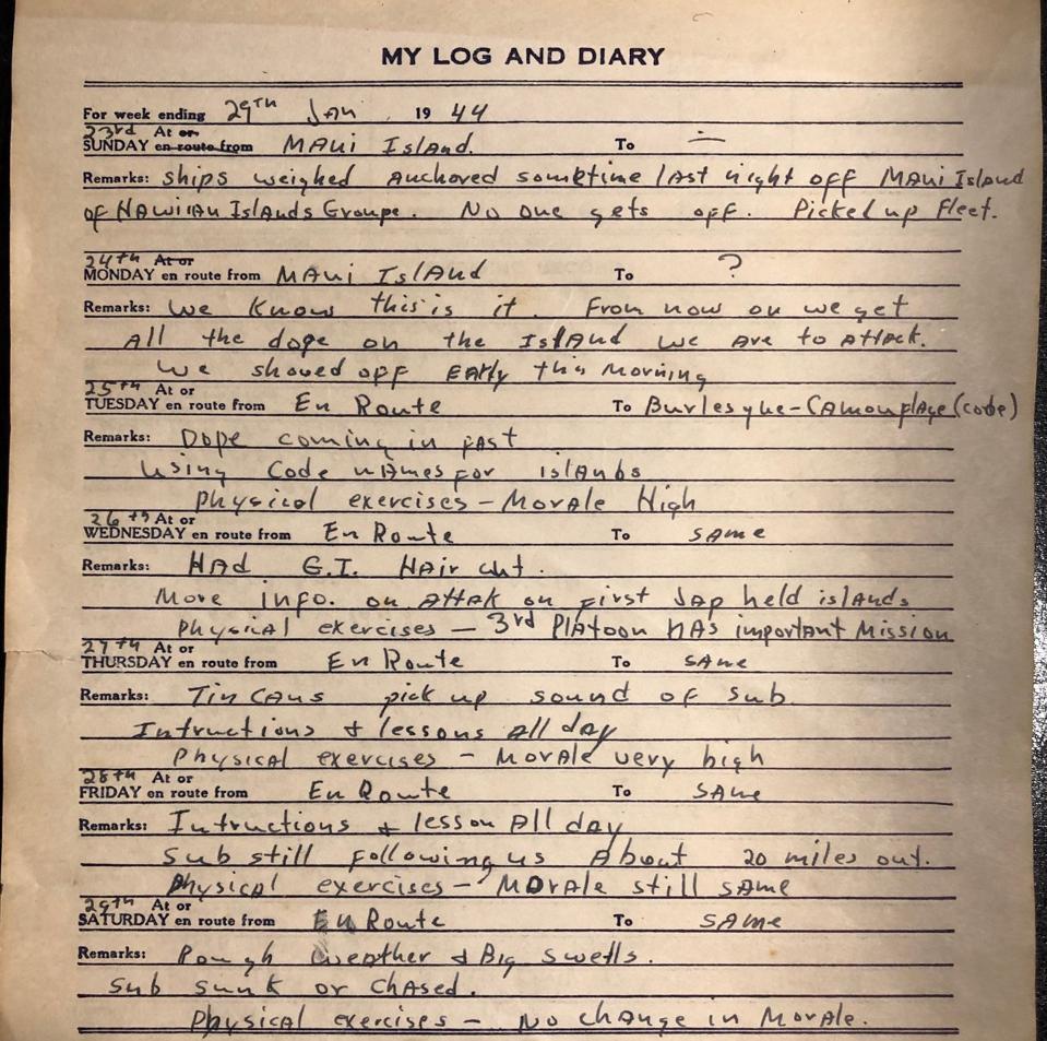 Daily diary entries for PFC Joseph Nicoletto describing transit towards the Kwajalein.