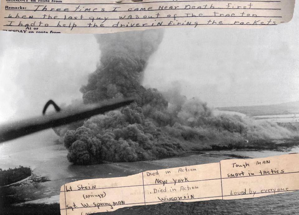 Image juxtaposing masive explosion on Namur island with a soldier's diary entries.