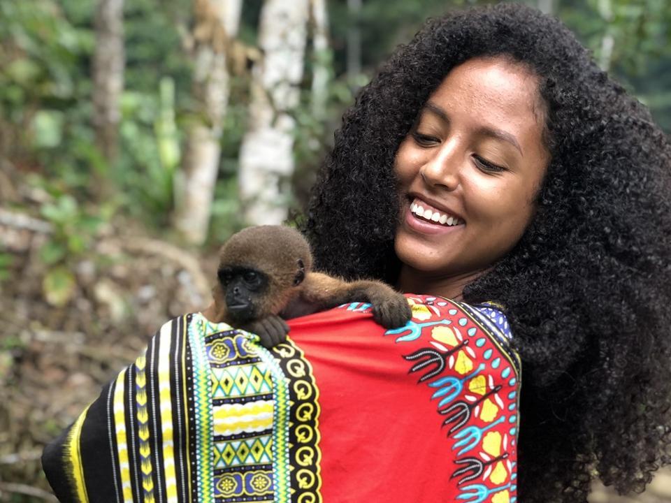Pet monkey in the Amazon