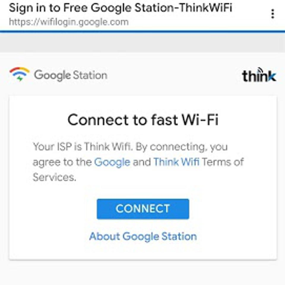 Google Station's connect page.