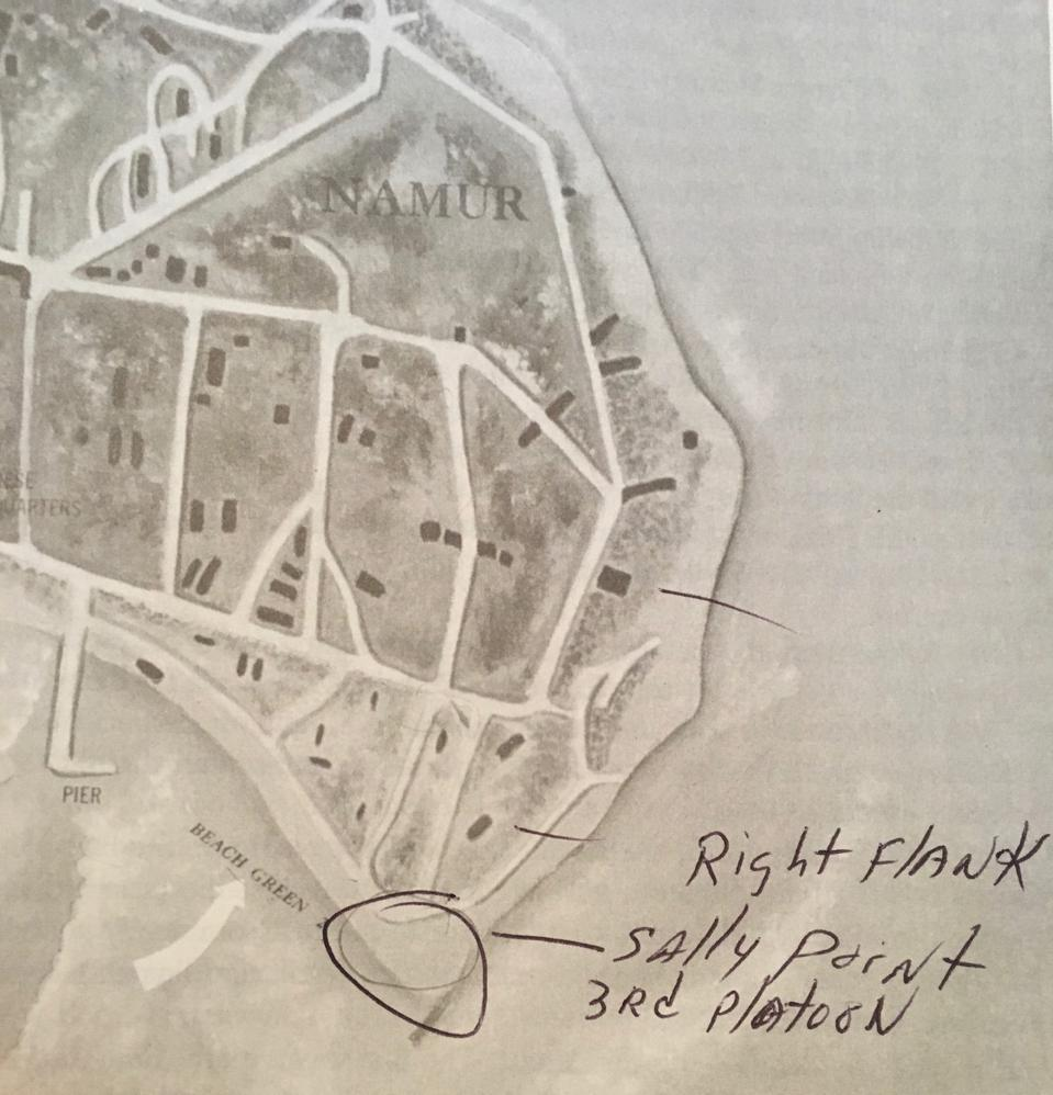 Map of Roi Namur island with the location of the 3rd Platoon landing zone scrawled in by Joseph Nicoletto.