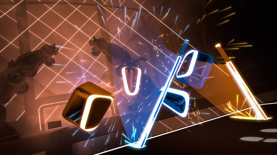 Screen capture from within a Monstercat x Rocket League Beat Saber pack