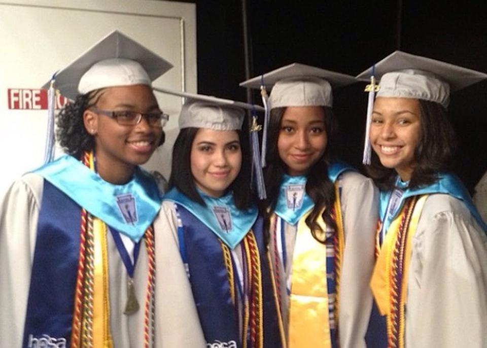 Giovana Ortiz-Barrera (second from left) and classmates at their high school graduation.
