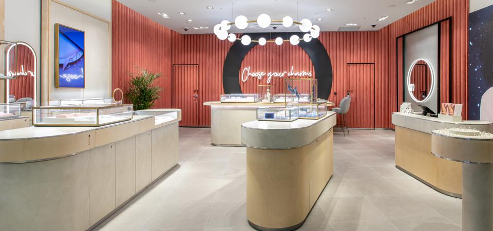 The new Pandora jewelry store at Westfield Garden State Plaza in Paramus, N.J., which opened November 7, 2019.