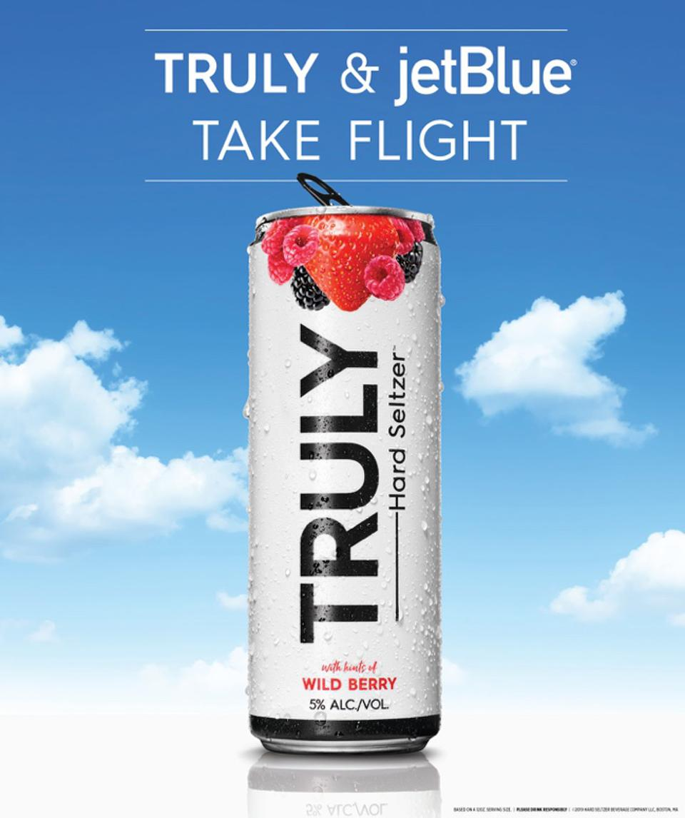 Truly Hard Seltzer will be available on JetBlue flights beginning in November.