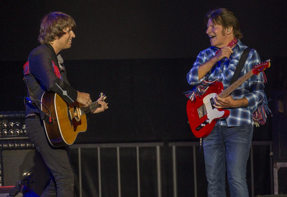(Left to right) Shane Fogerty and John Fogerty perform at the Bourbon and Beyond festival. Friday, September 20, 2019 in Louisville, Kentucky (Photo by Barry Brecheisen)
