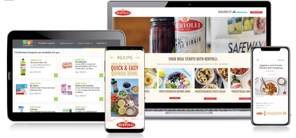 online grocery shown on tablet, mobile phone and laptop computer