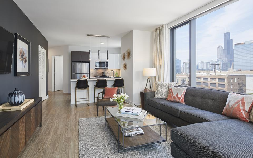 Mary Cook Associates designed select model units in The Paragon using a mid-century modern aesthetic.
