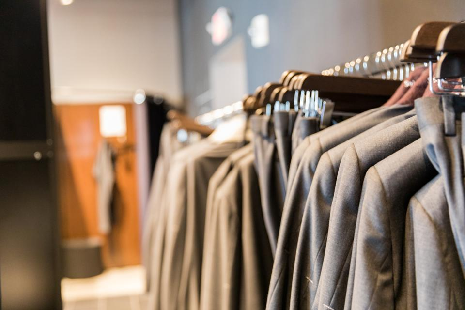 BOSTON, MA - Sample suits at Indochino in Boston's Seaport