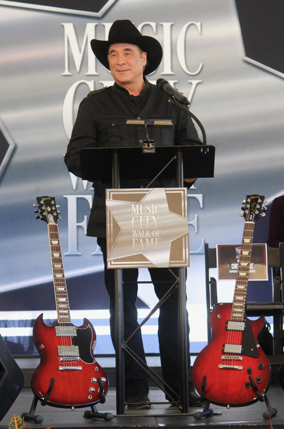 Clint Black accepting his star at the Music City Walk of Fame
