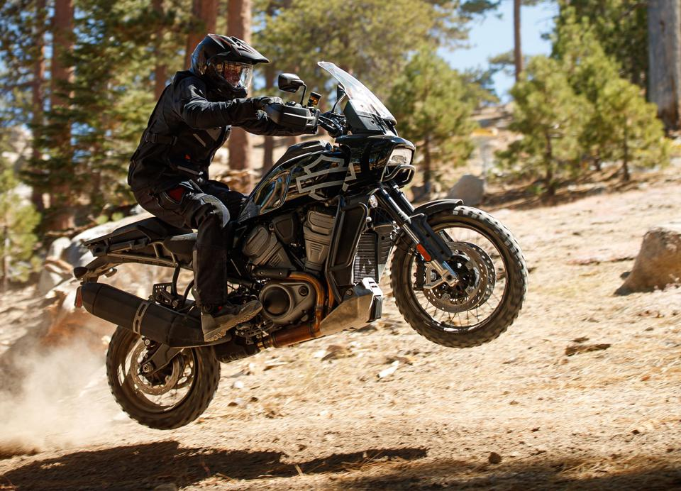 A Harley in the most unlikely of places: In the air and on the dirt.