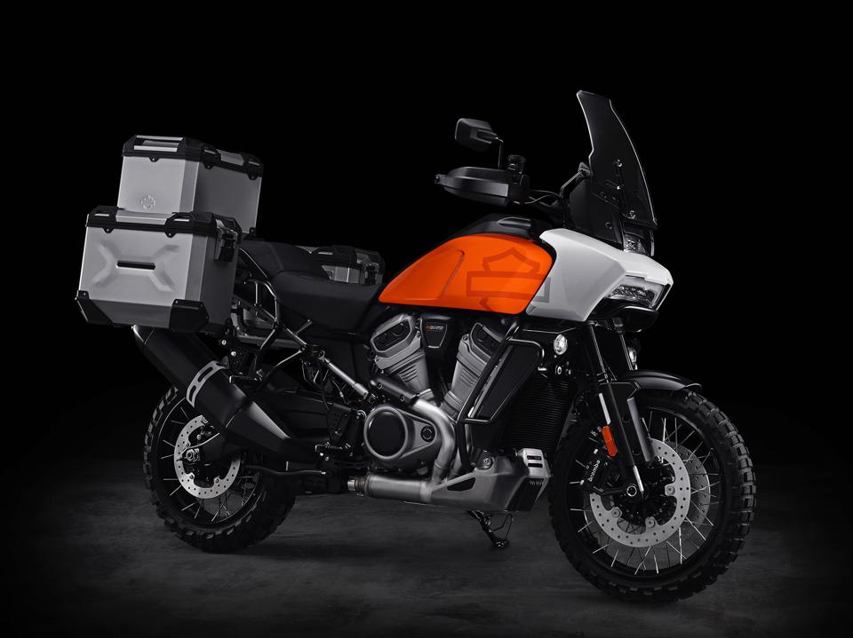 The Pan America prototype ready to travel, with de-rigueur ADV panniers and top case.