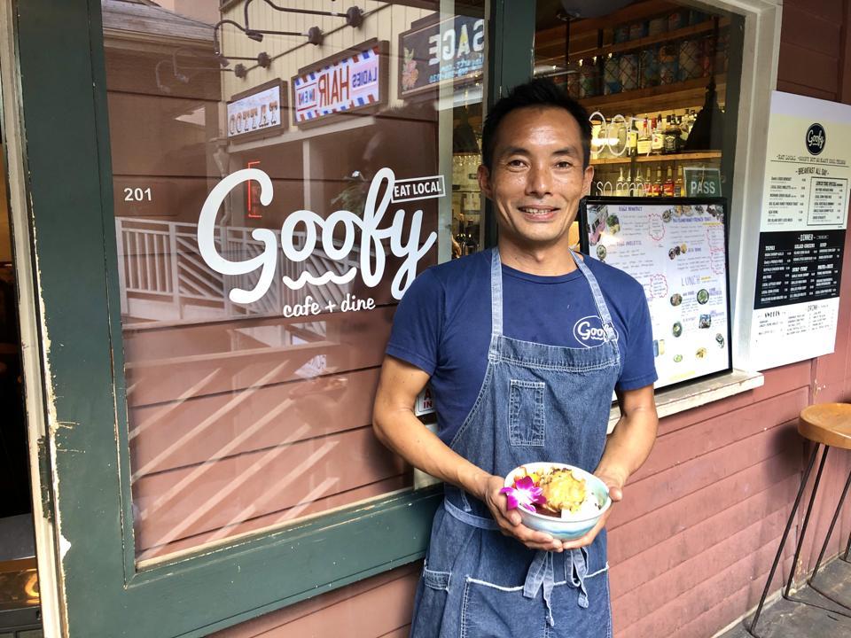 Chef Koki Yoshinaga presenting his Goofy Machado Acai Bowl
