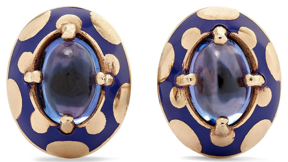 Alice Cicolini Candy 14K Gold and Enamel Tanzanite Earrings