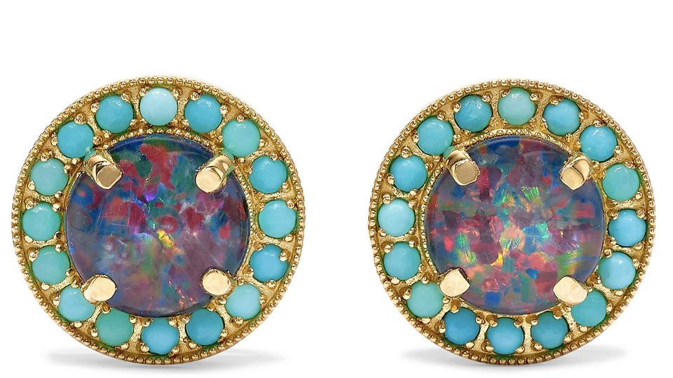 Andrea Forhman Kat 18K  Gold, Opal and Turquoise Earrings