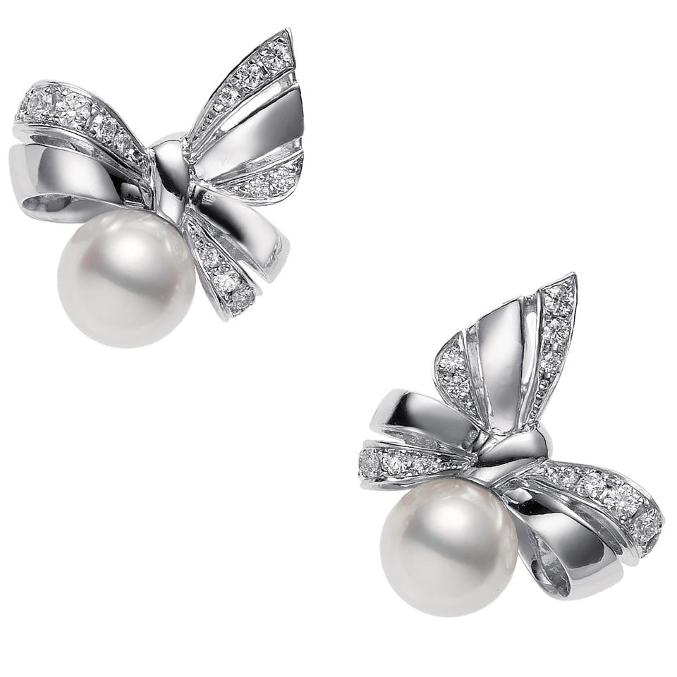 Mikimoto Ribbon Diamond & Pearl Stud Earrings