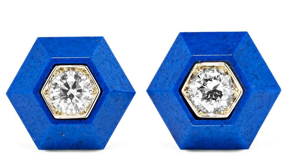 Fred Leighton Collection 18K White Gold, Lapis Lazuli and Diamond Earrings