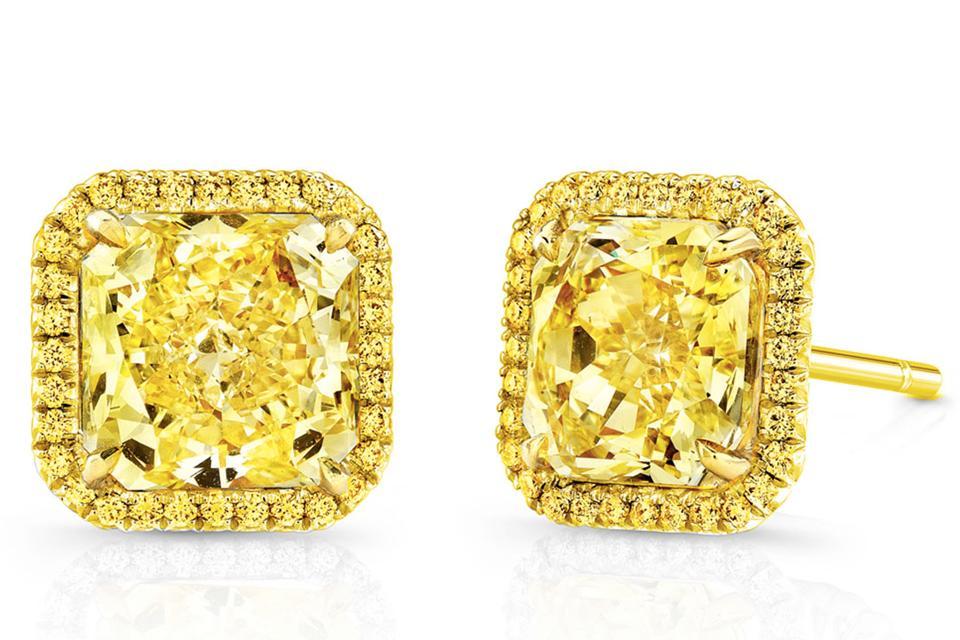 Rahaminov 18K Fancy Intense Diamond Stud Earrings