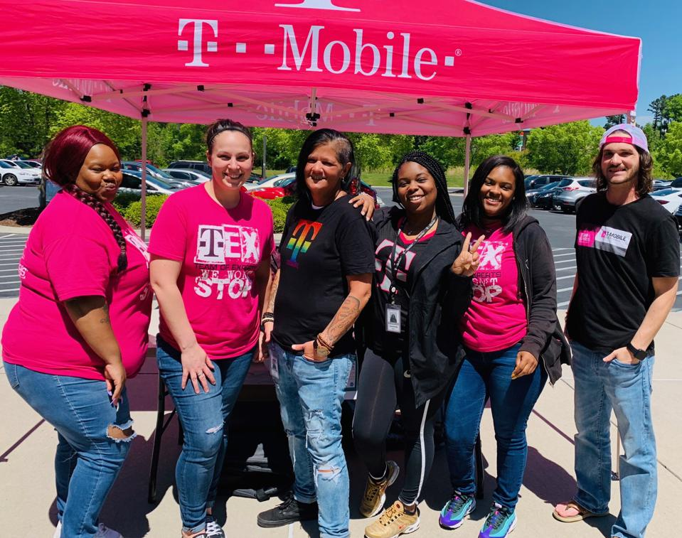 T-Mobile's Joy Stanfield (center) with members of her Team of Experts.