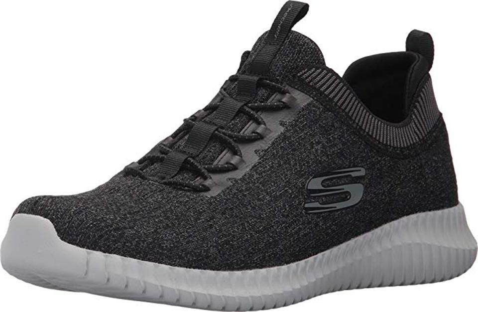 Sketchers features a rounded toe with reinforced toe bumper.