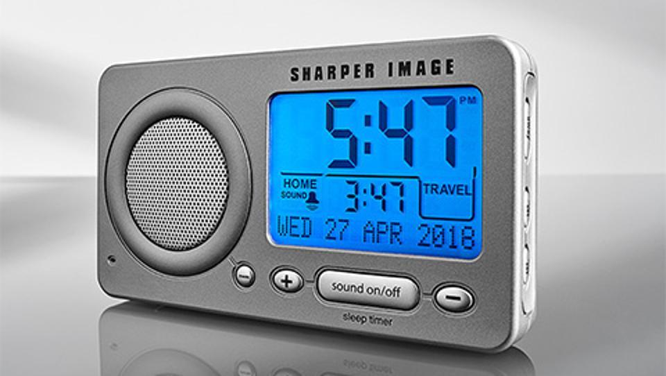 Sharper Image sound machine has a sleep timer with a shutoff option.