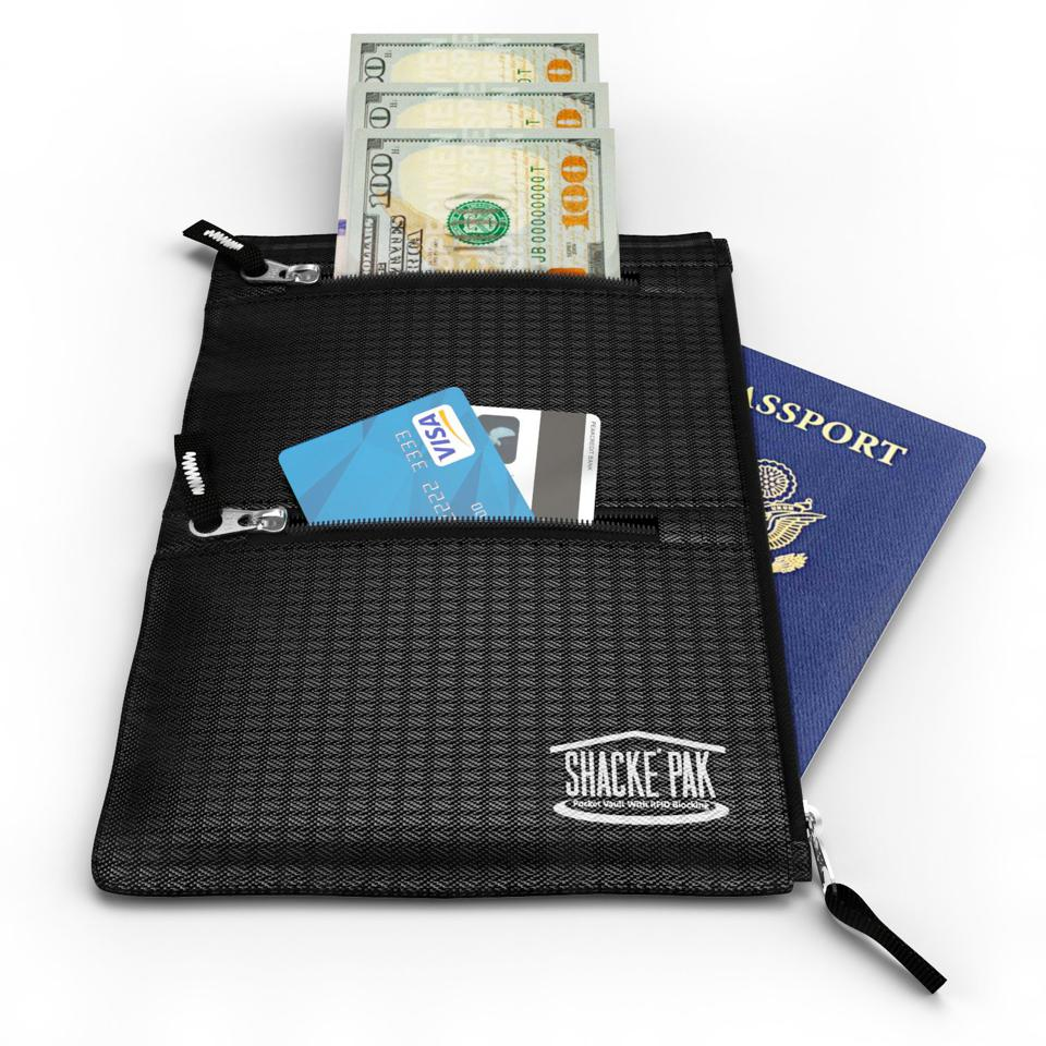 Shacke Pocket Vault features three separate compartments for your valuables.