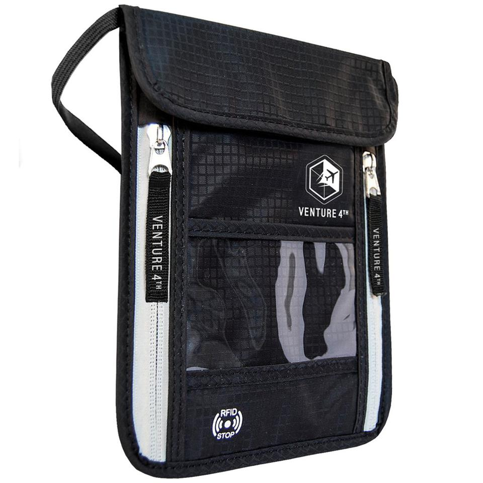 Venture 4th RFID Neck Pouch keeps your information protected.